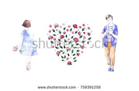 Love card. By Ksenya Knysh. @knyshksenya #illustration #illustrator #ksenyaknysh #watercolor #girl #flowers #nature #illustration #art #mothersday #valentine #white day #love