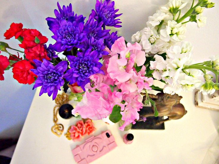 BLOOMBOX CO crazy pink and purple sweetpeas and crysanthemums over at Little Black Book