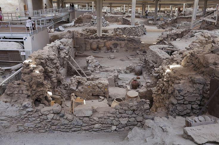 Excavation site of Minoan Bronze Age on Akrotiri, Santorini