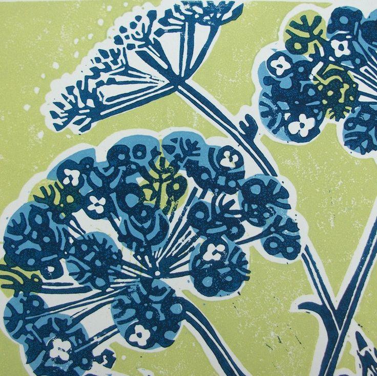 Seed Bloom Linocut print 094