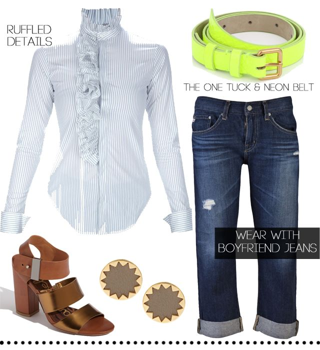 Banker Stripe Ruffle Blouse and Boyfriend Jeans Outfit