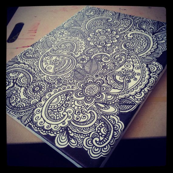Henna Doodle Art on Canvas 14 x 11 by khadeejaniazi on Etsy, $30.00