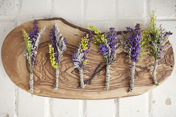 purple and yellow rustic boutonnieres // photo by ShariandMike.ca