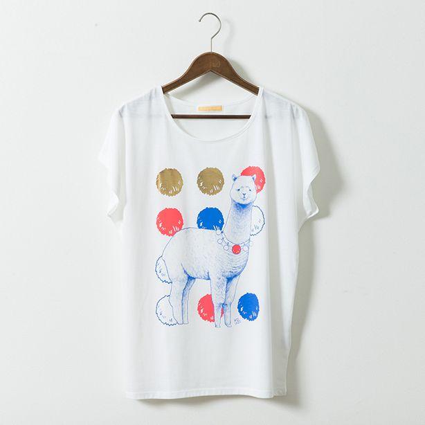D[diː] Aipaca(アルパカ)Tシャツ レディース ホワイト - D[di:]'s PRODUCT ONLINE STORE