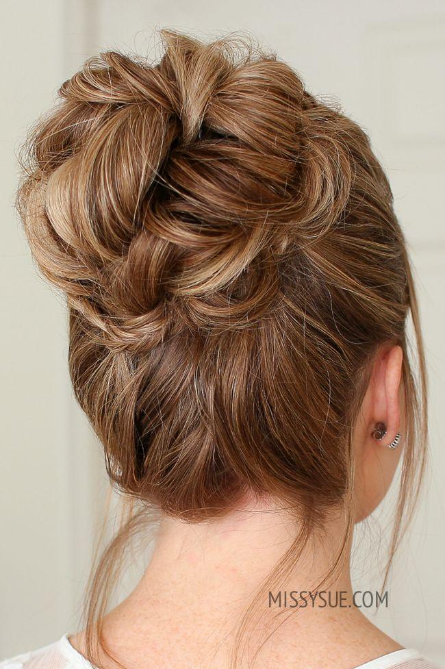Mini Braid Wrapped High Bun Missy Sue High Bun Hairstyles Hair Bun Tutorial Bun Hairstyles