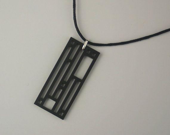 Modern Rectangular Boxy Minimilist Laser Cut Acrylic Unisex Necklace in Black