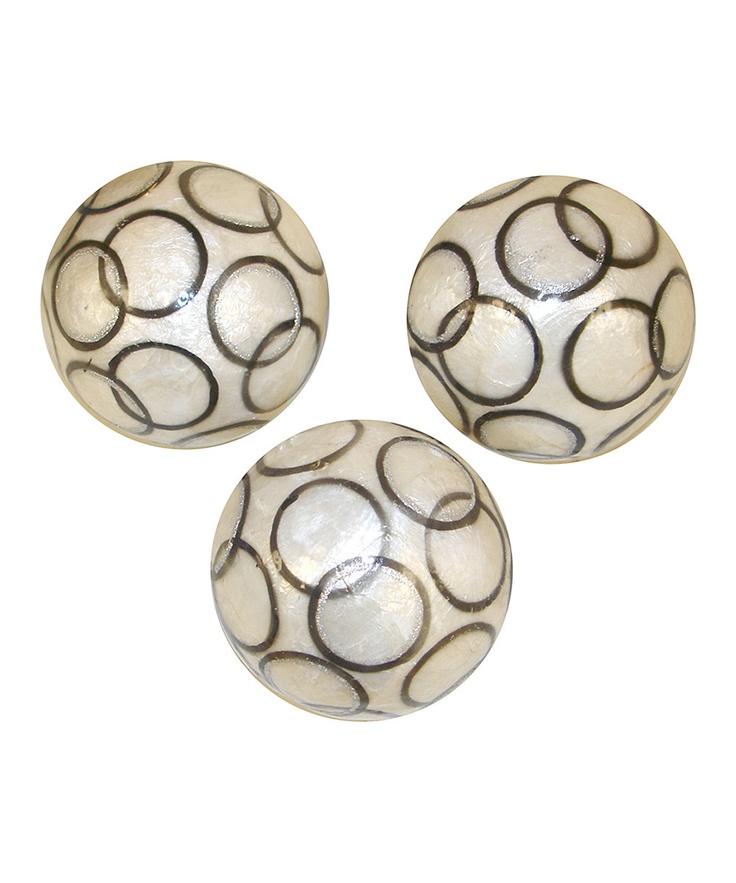 capiz circle decorative orb set of three - Decorative Orbs