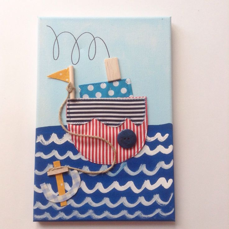 A personal favourite from my Etsy shop https://www.etsy.com/listing/453275900/sailing-boat-canvas-for-kids