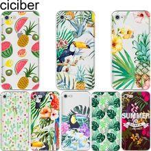 Casos de telefone da Fruta do Verão Flor folhas de abacaxi cactus Tucano soft case capa para o iphone 6 6 S 7 plus 5S SE fundas Coque capa(China)