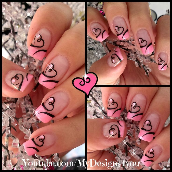 Easy Valentines Day Nail Art | Cute Heart French Tip Nails #valentinesnails #pinknails #valentinesdaynails Discover and share your nail design ideas on www.popmiss.com/nail-designs/