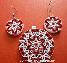 Quilled Jewelry, quilled pendant and earrings