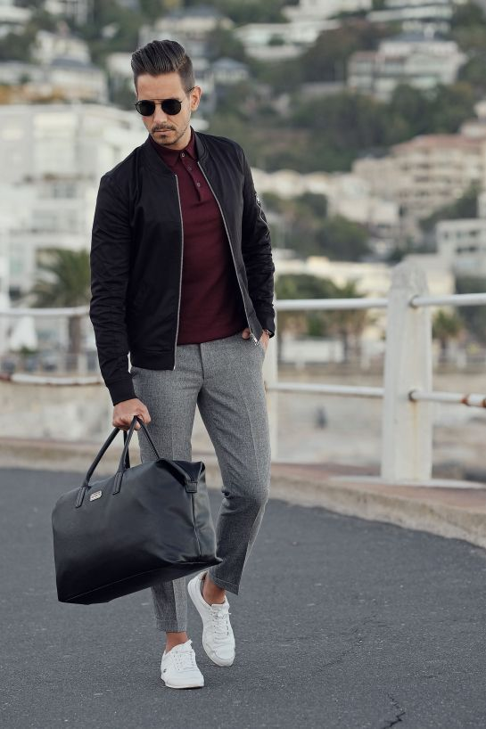 Mens Style, Menswear, Mens Fashion, Street Style, Casual, Black Bomber Jacket, Grey Pants, White Sneakers, Leather Bag, Black Leather, Travel Style, Comfort, Aramis #MensFashionPants