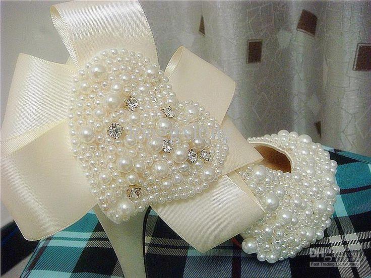 Moda Donna A Forma Di Cuore, Perla Scarpe Da Sposa Tacco Alto, Sposa Scarpe Custom Made 10cm All'ingrosso Da