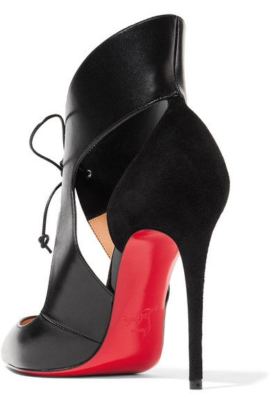 Christian Louboutin - Ferme Rouge Cutout Leather And Suede Pumps - Black