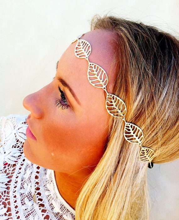 Gold Wedding Head Piece Bridal Accessories Gold by ThreeBirdNest