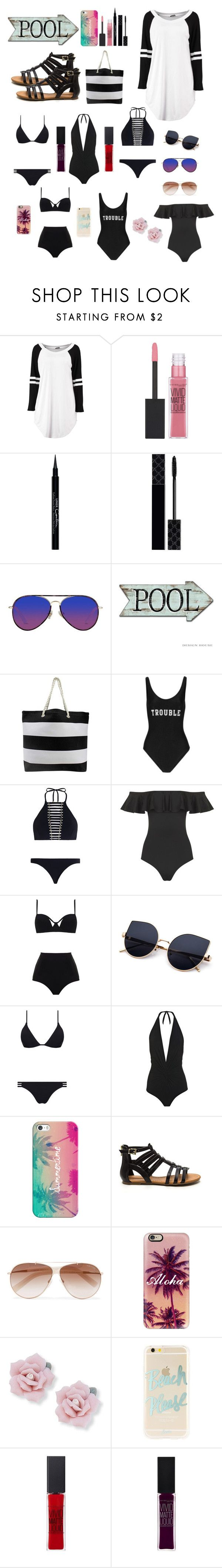 """""""Pool 👙🏊♀️"""" by fashion8-2016 ❤ liked on Polyvore featuring Maybelline, Givenchy, Gucci, Matthew Williamson, ADRIANA DEGREAS, Zimmermann, Topshop, MOEVA, Melissa Odabash and Karla Colletto"""