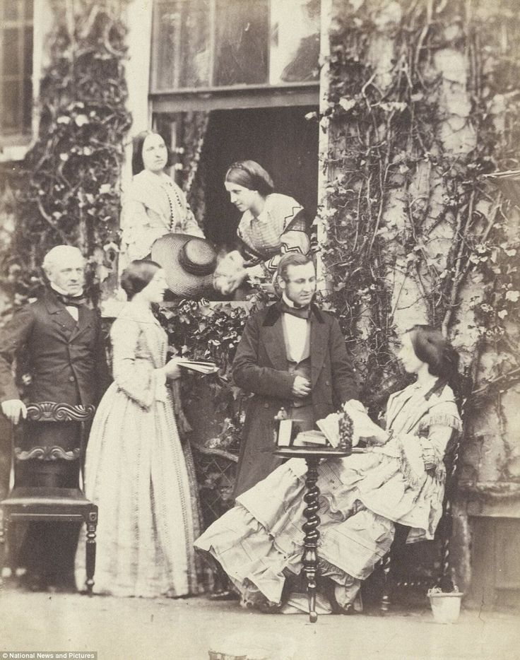 An early picture taken by the Victorian  photographer Emma Johnston, showing a Mr Horn, his niece and other family and friends posing for the camera