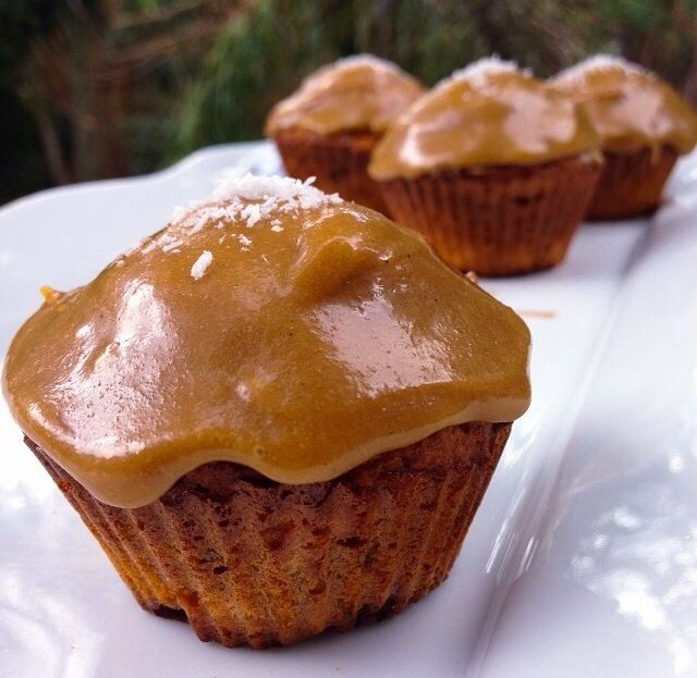 Carrot cake muffins with tahini caramel icing