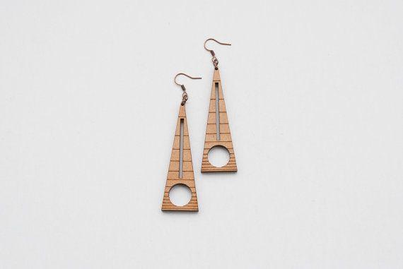 Geometric earrings triangle earrings wood earrings by elfinadesign