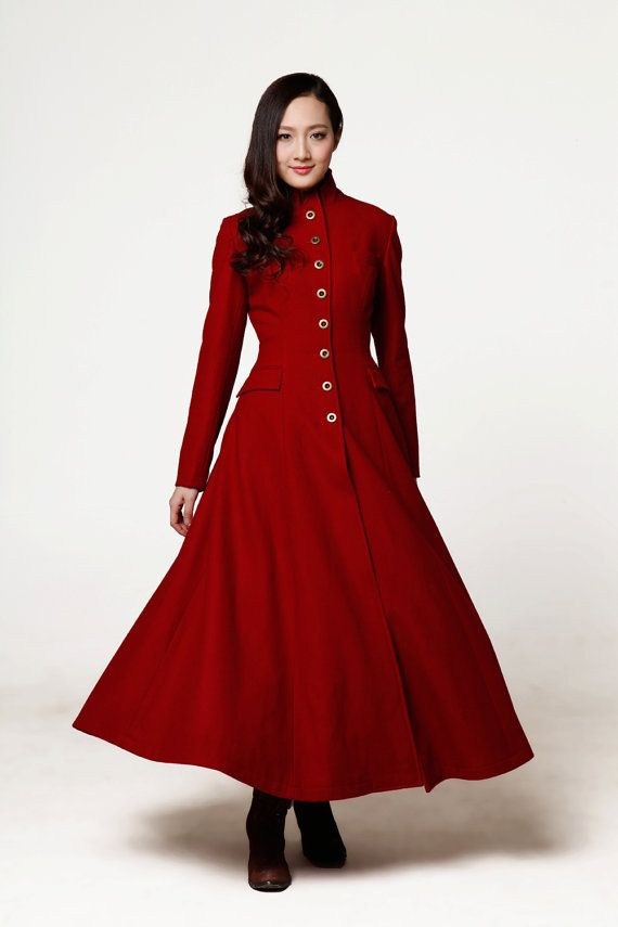 Wine Red Coat Big Sweep Lapel Collar Mandarin Collar Women Wool Winter Coat Long Jacket Tunic / Fast Shipping - NC612