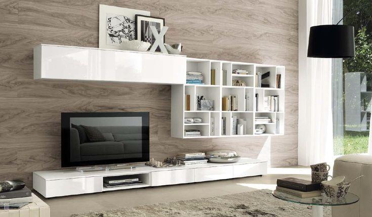 Soggiorno bianco lucido parete piastrelle effetto legno for Piastrelle soggiorno