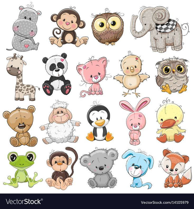 Set of cute animals Royalty Free Vector Image – Ve…