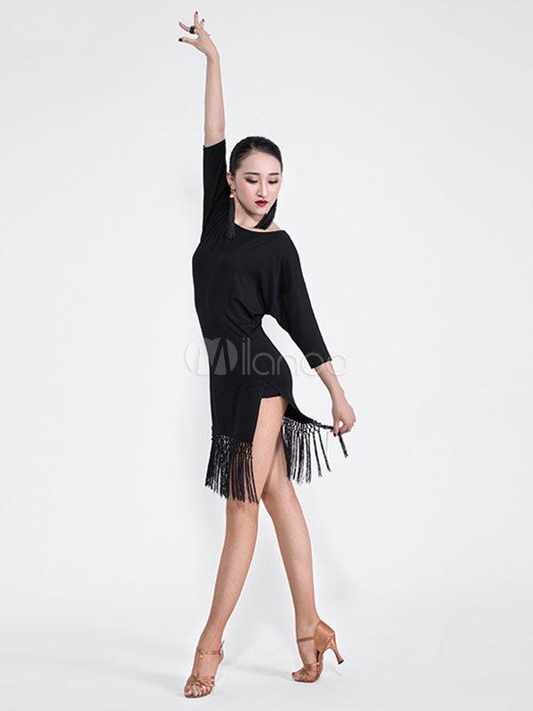 cc269ee48 Latin Dance Costume Black Long Sleeve Tassels Dancing Dress And Sash #Black,  #Long