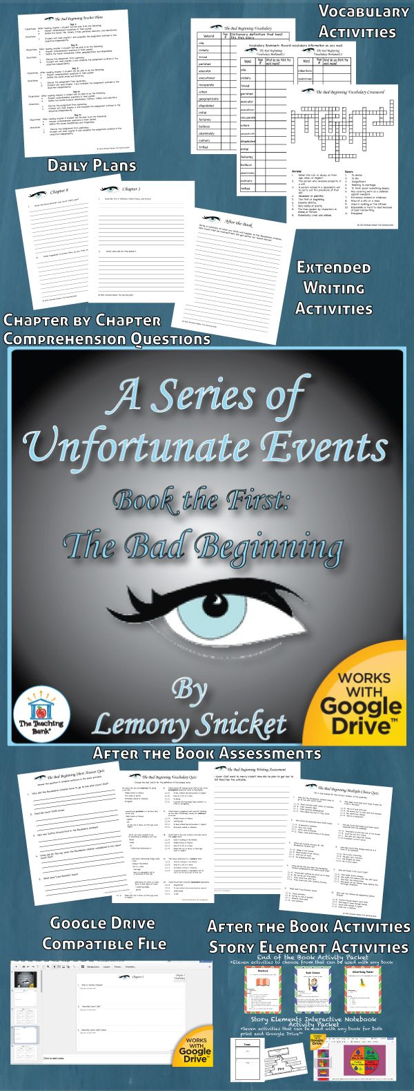 Series of Unfortunate Events The Bad Beginning Novel Study ...