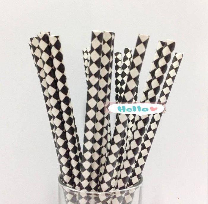 Бесплатная доставка 50 шт. белый с черным бриллиантом выкройки соломинки на день рождения ну вечеринку украшения