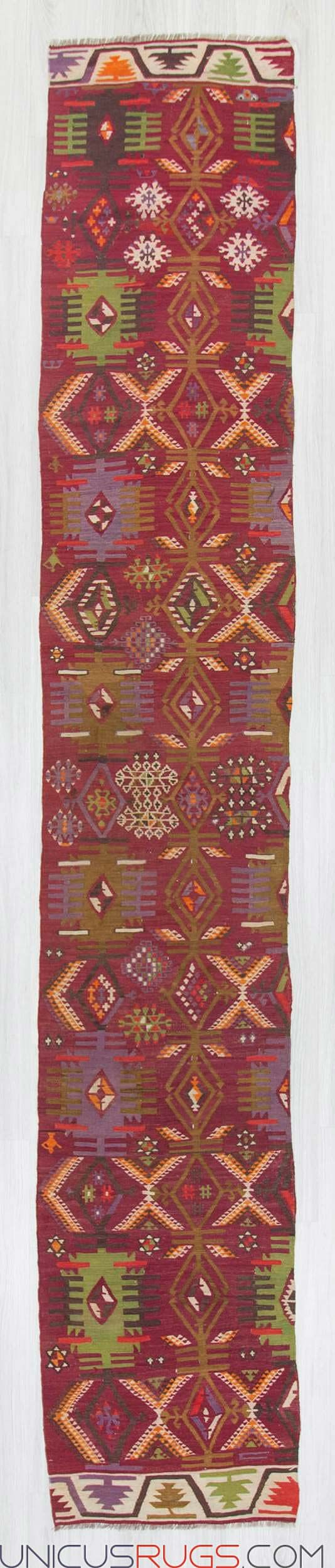 """Vintage kilim runner from Adana region of Turkey. In very good condition. Approximately 60-70 years old Width: 2' 3"""" - Length: 13' 0"""" RUNNERS"""