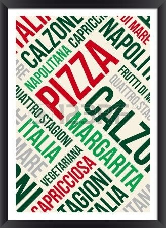 Pizza words cloud poster Stock Vector