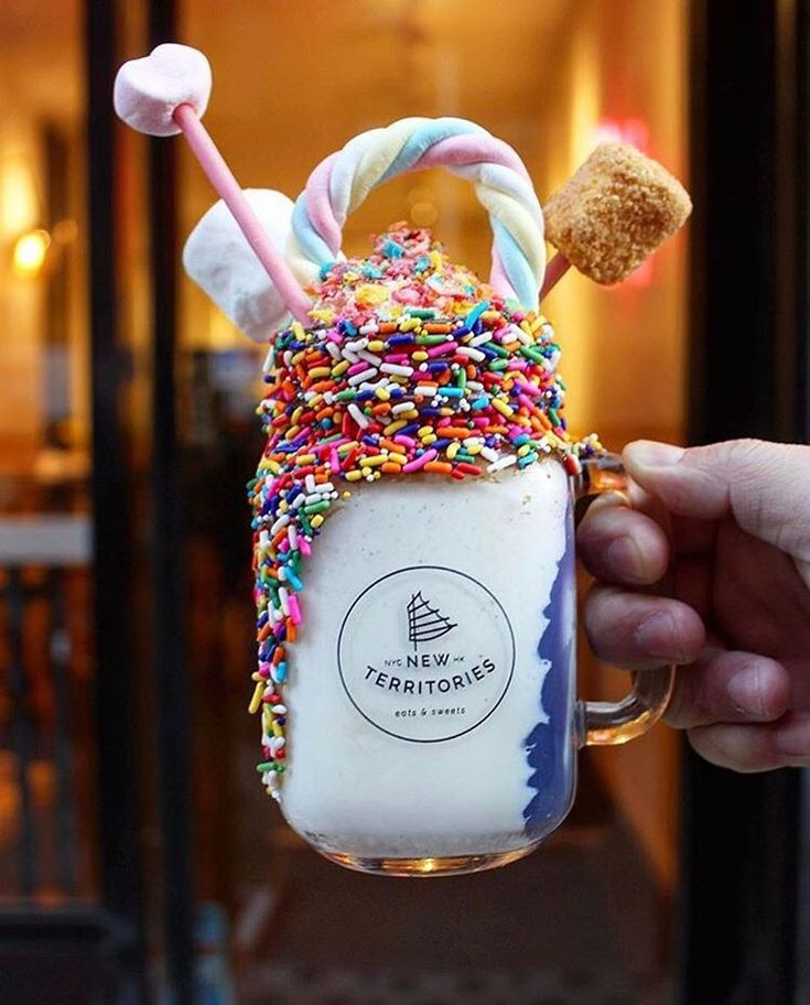 In 2017, a milkshake must not only be topped with enough sugary treats to form your entire calorie consumption for the day, but it must also be unicorn themed. Yep. The unicorn food thing is still going. It may never stop.