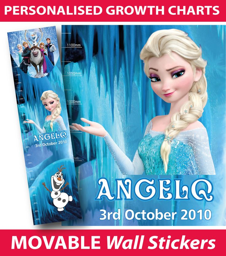 Personalised Frozen Elsa Height Chart Wall Sticker, - Buy direct from the printers and SAVE!  FREE Gift with every purchase, $24.99 (http://www.wholesaleprinters.com.au/personalised-frozen-elsa-height-chart-wall-sticker/)