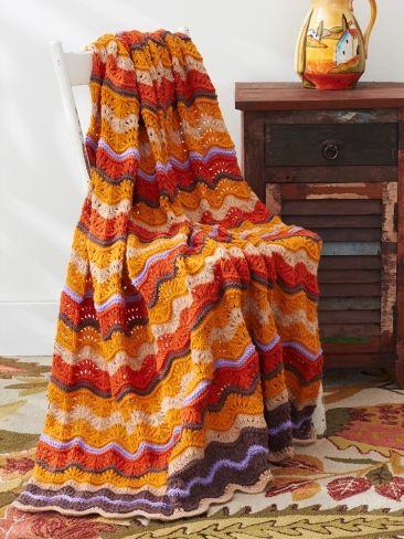 Chevron Retro Blanket | Yarn | Free Knitting Patterns | Crochet Patterns | Yarnspirations