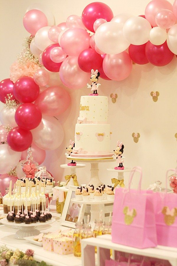 Fiesta Minnie Mouse En Rosa Y Dorado Para El Primer