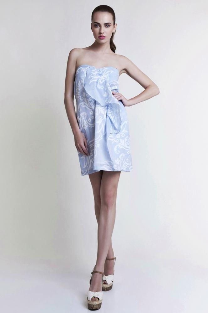 Mini Strapless Dress in Baby Blue