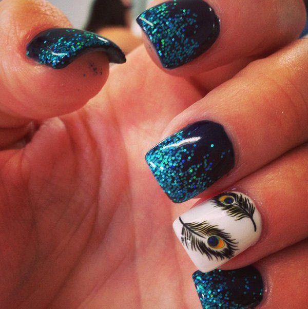 Green Glitter Feather Nail Design