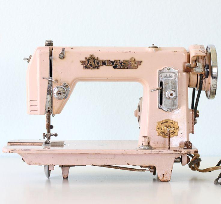 Vintage Pink Sewing Machine - Atlas brand