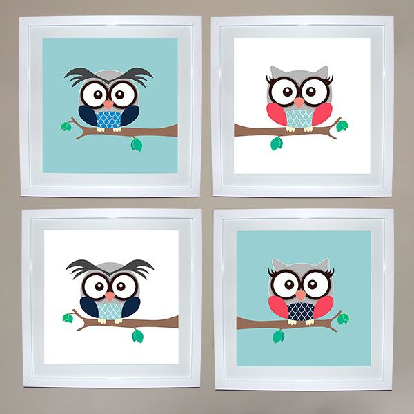 Owl Print Set of 4 - Girl & Boy | Ruby & Me | Online Shop