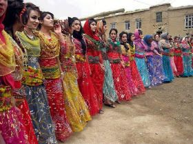 "Kurdish Women in Iran - the Name of this Dance is ""Rainbow Dance""."