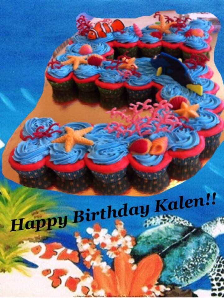 Sea Themed Cupcake Cake Shaped As The Number 5
