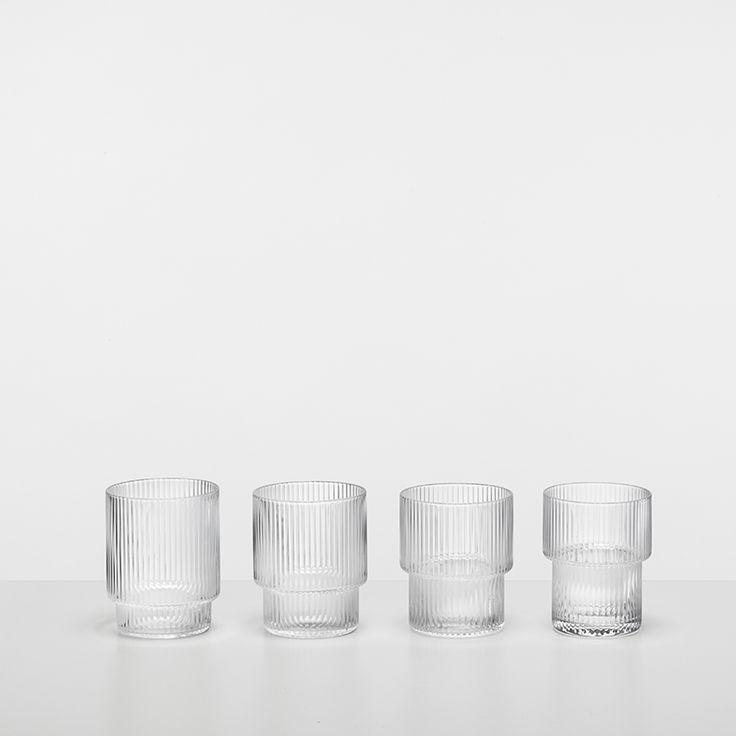 Ripple Glass (set of 4) - ferm LIVING - Dansk Design - FAST DELIVERY