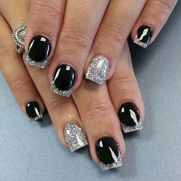 Nails art | Black and Silver glitter
