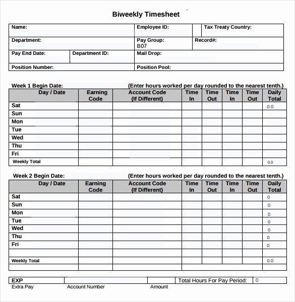 Printable Bi Weekly Time Sheets Printables Week Sheets