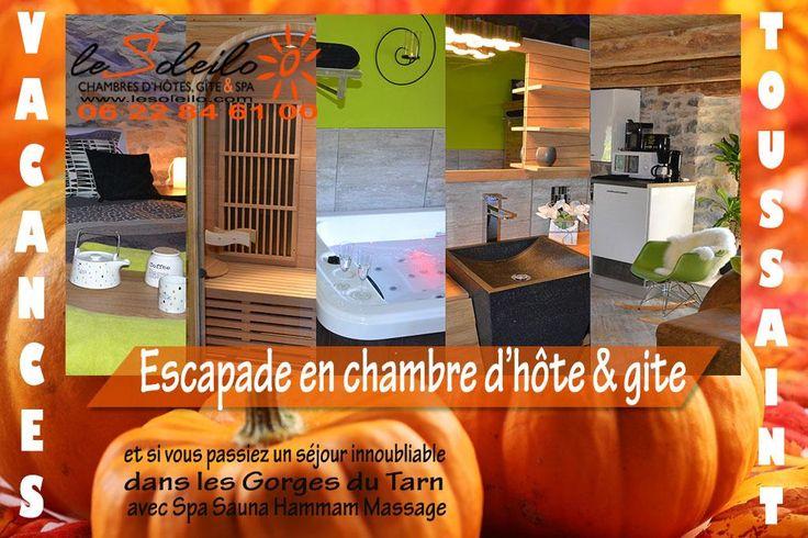 vacances de la Toussaint et séjour bien-être en chambre d'hôte avec spa ou gîte avec spa dans les Gorges du Tarn : chambre avec spa privatif et hammam ou gîte avec spa privatif et sauna Le Soleilo, chambres d'hôte, gîte et spa 4 épis Gorges du Tarn  http://www.lesoleilo.com/fr/gite-loft-cocoon-et-spa Canoé Aqua Soleil Eau Mostuéjouls Gorges du Tarn  http://www.canoe-soleileau.com/fr/aquasoleileau/canoe-kayak-vivez-laventure