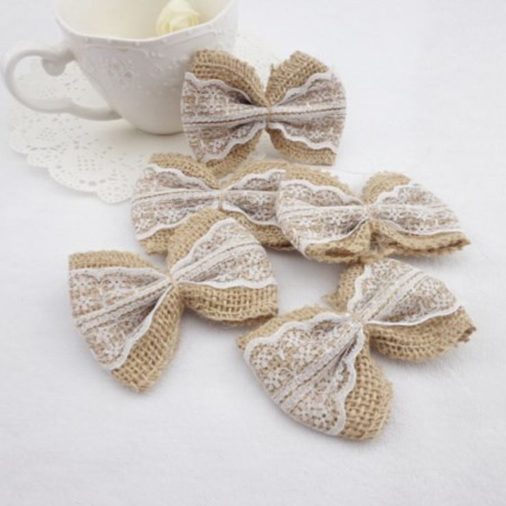 10PCS White Natural Jute Burlap Hessian Bowknot Bows Hat Accessories Craft Rustic Wedding decoration supplier Craft Decor //Price: $9.95 & FREE Shipping //     #birthdaysupplies