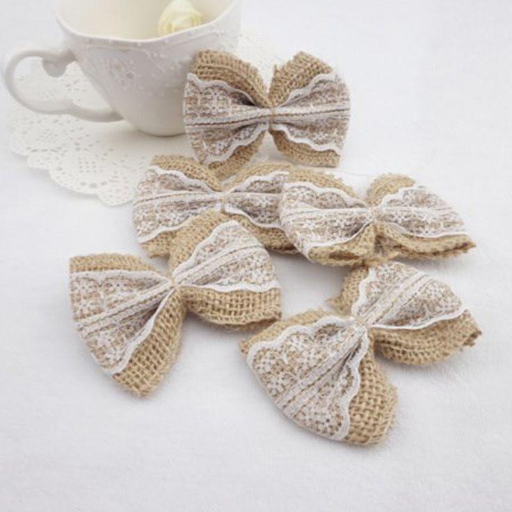 10PCS White Natural Jute Burlap Hessian Bowknot Bows Hat Accessories Craft Rustic Wedding decoration supplier Craft Decor