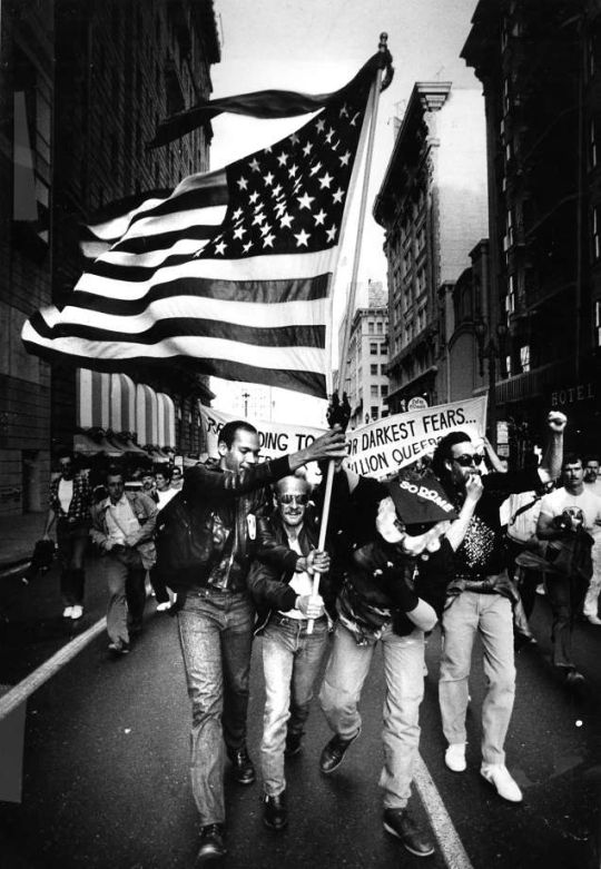 Gays protest the Supreme Court's Bowers v. Hardwick decision in 1986, which ruled there was no constitutionally-protected right to engage in homosexual sex