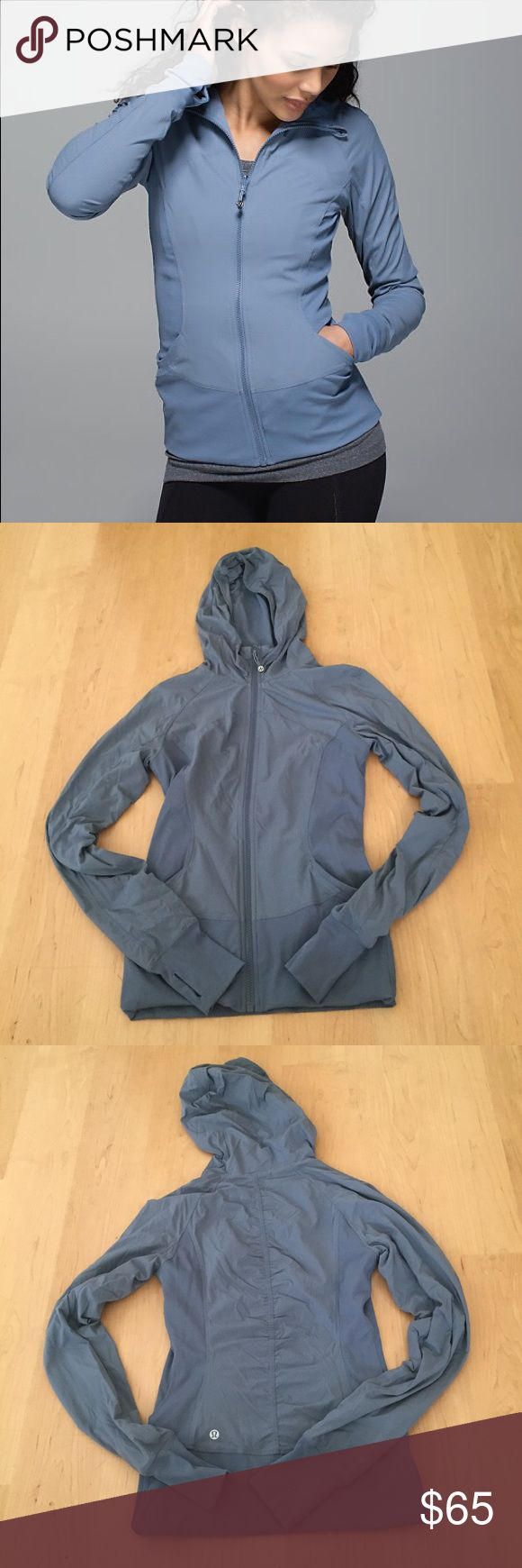 "In Flux Jacket Size 6 in flux jacket, color is ""blue denim"". Only worn a handful of times, in EUC. All reasonable offers considered ❤ (the last photo is an image I found online to show the jacket description) lululemon athletica Jackets & Coats"