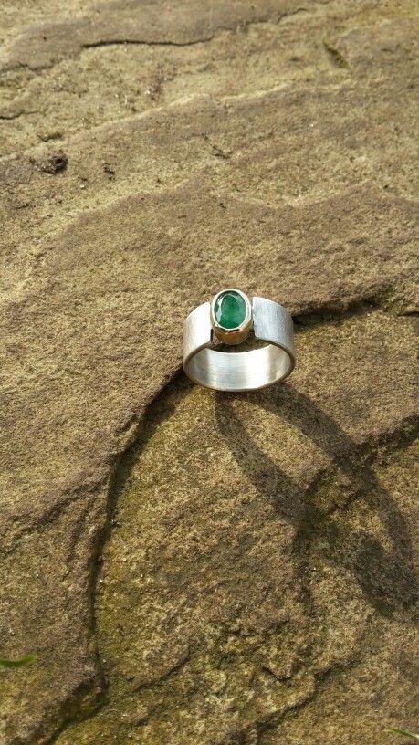 Smaragdring Silber Gold